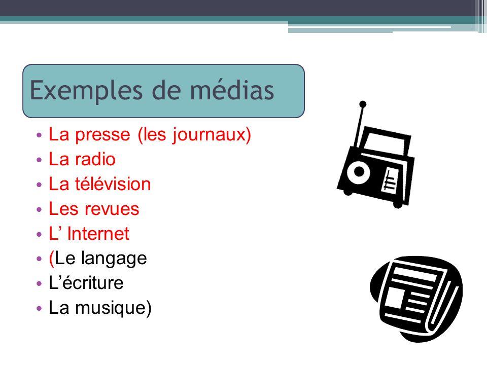 Exemples de médias La presse (les journaux) La radio La télévision Les revues L Internet (Le langage Lécriture La musique)