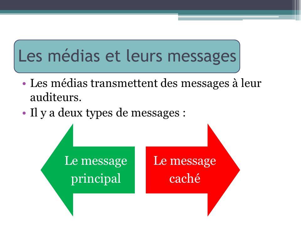 Les médias et leurs messages Les médias transmettent des messages à leur auditeurs. Il y a deux types de messages : Le message principal Le message ca