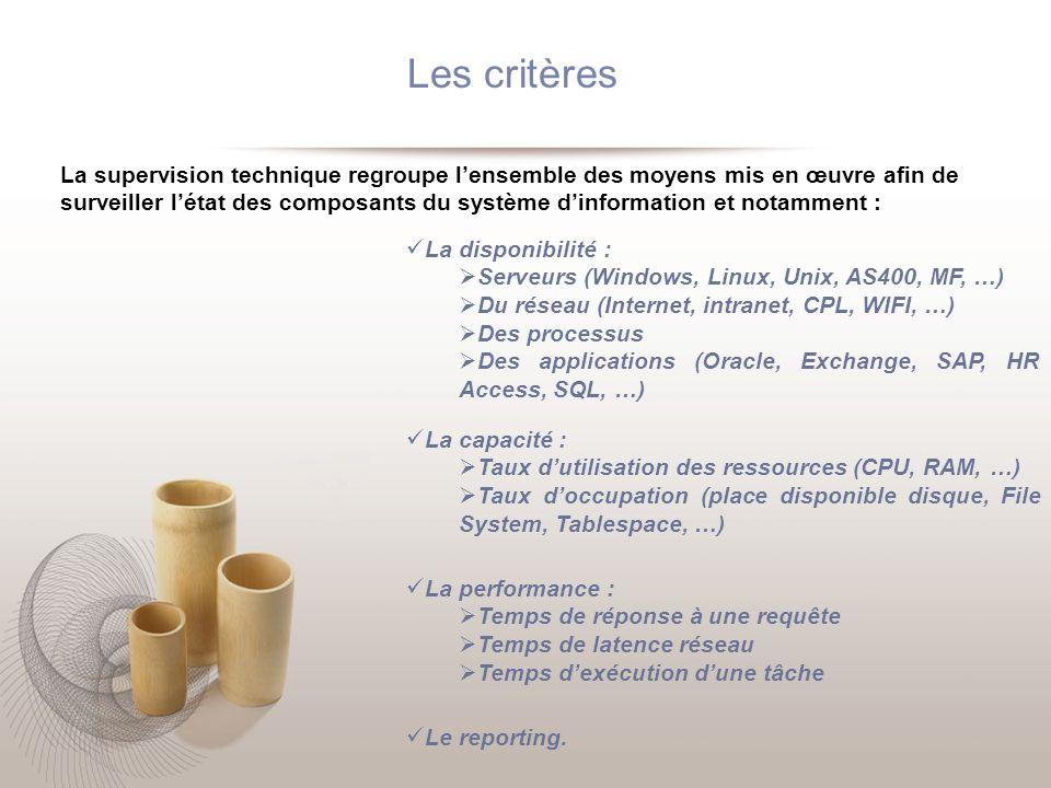 Les critères La supervision technique regroupe lensemble des moyens mis en œuvre afin de surveiller létat des composants du système dinformation et no