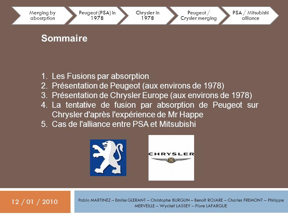 Pablo MARTINEZ – Emilie GLERANT – Christophe BURGUN – Benoît ROJARE – Charles FREMONT – Philippe MERVEILLE – Wyclief LASSEY – Flore LAFARGUE 12 / 01 / 2010 PSA Peugeot Citroën est né de la réunion, en 1976, de Peugeot et de Citroën puis de la fusion par absorption, en 1978, de Chrysler Europe (deviendra Talbot).