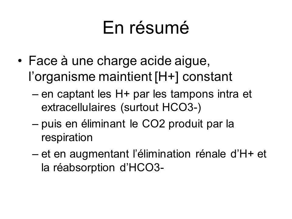 En résumé Face à une charge acide aigue, lorganisme maintient [H+] constant –en captant les H+ par les tampons intra et extracellulaires (surtout HCO3-) –puis en éliminant le CO2 produit par la respiration –et en augmentant lélimination rénale dH+ et la réabsorption dHCO3-