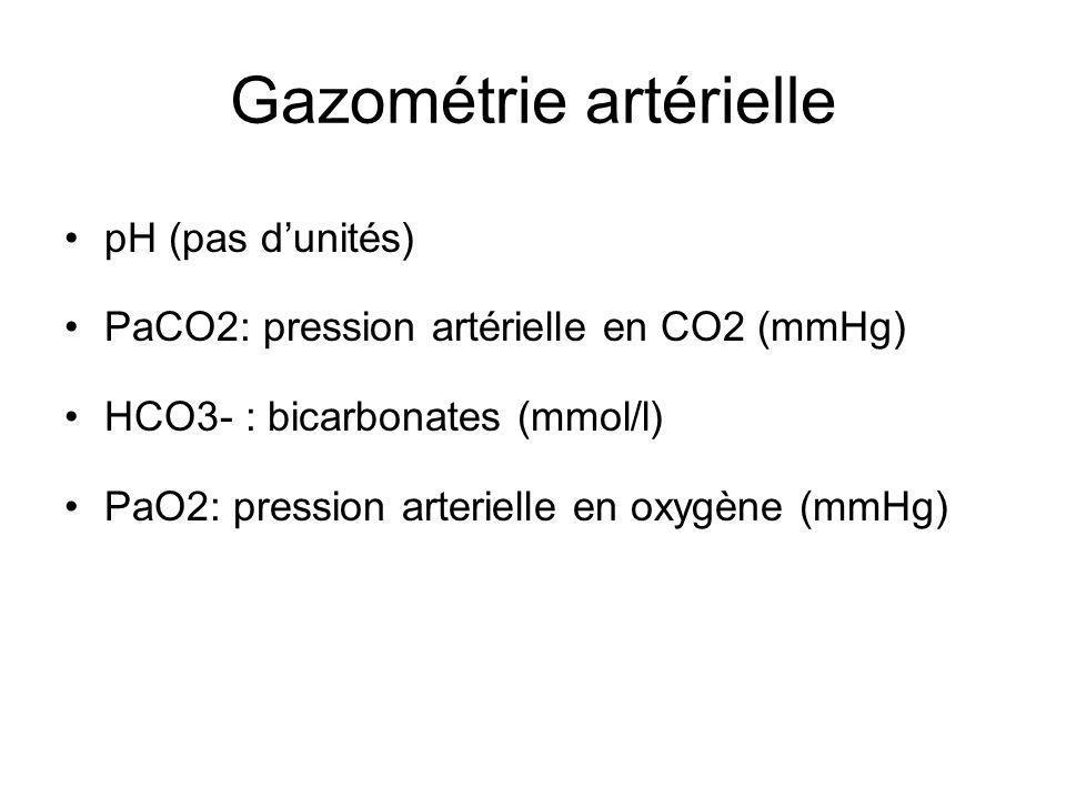 Gazométrie artérielle pH (pas dunités) PaCO2: pression artérielle en CO2 (mmHg) HCO3- : bicarbonates (mmol/l) PaO2: pression arterielle en oxygène (mmHg)