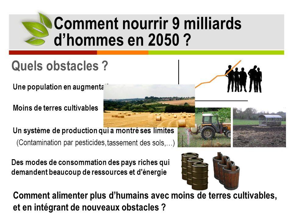 Quels obstacles ? Comment nourrir 9 milliards dhommes en 2050 ? Une population en augmentation Comment alimenter plus dhumains avec moins de terres cu
