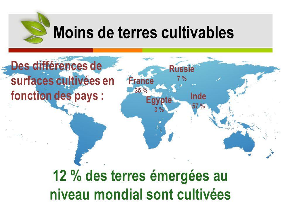 12 % des terres émergées au niveau mondial sont cultivées Inde 57 % France 35 % Egypte 3 % Russie 7 % Moins de terres cultivables Des différences de s