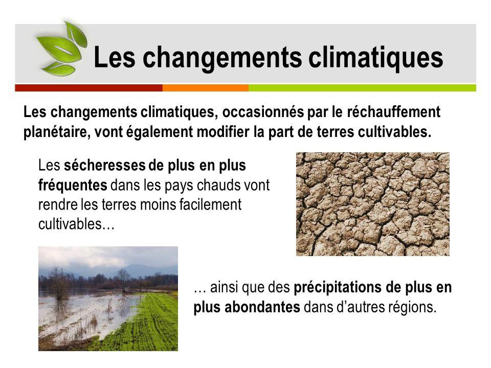 Les changements climatiques Les changements climatiques, occasionnés par le réchauffement planétaire, vont également modifier la part de terres cultiv