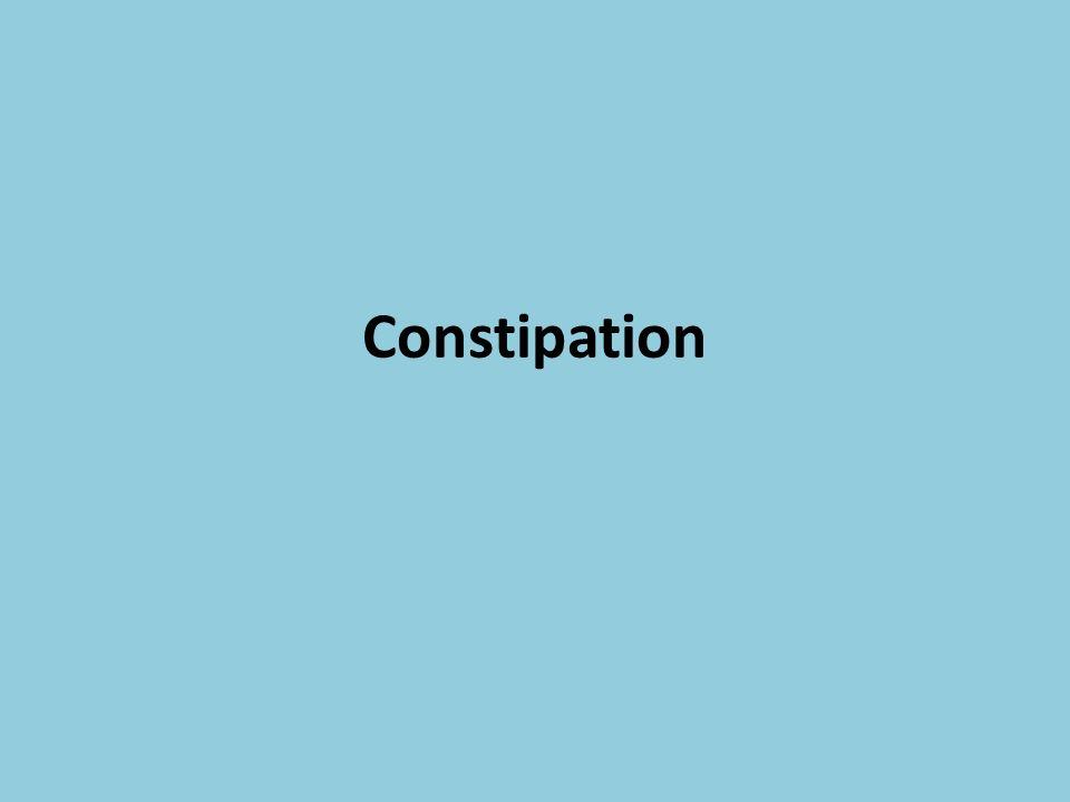 Définition La constipation est définie par un nombre de défécations inférieur ou égal à trois par semaine.