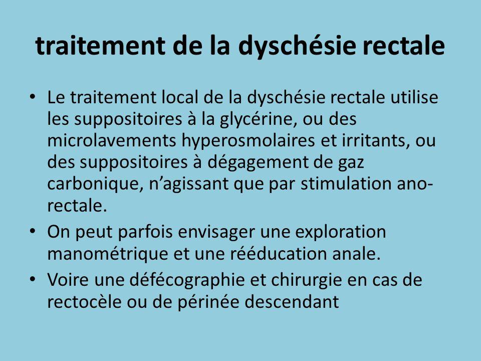 traitement de la dyschésie rectale Le traitement local de la dyschésie rectale utilise les suppositoires à la glycérine, ou des microlavements hyperos