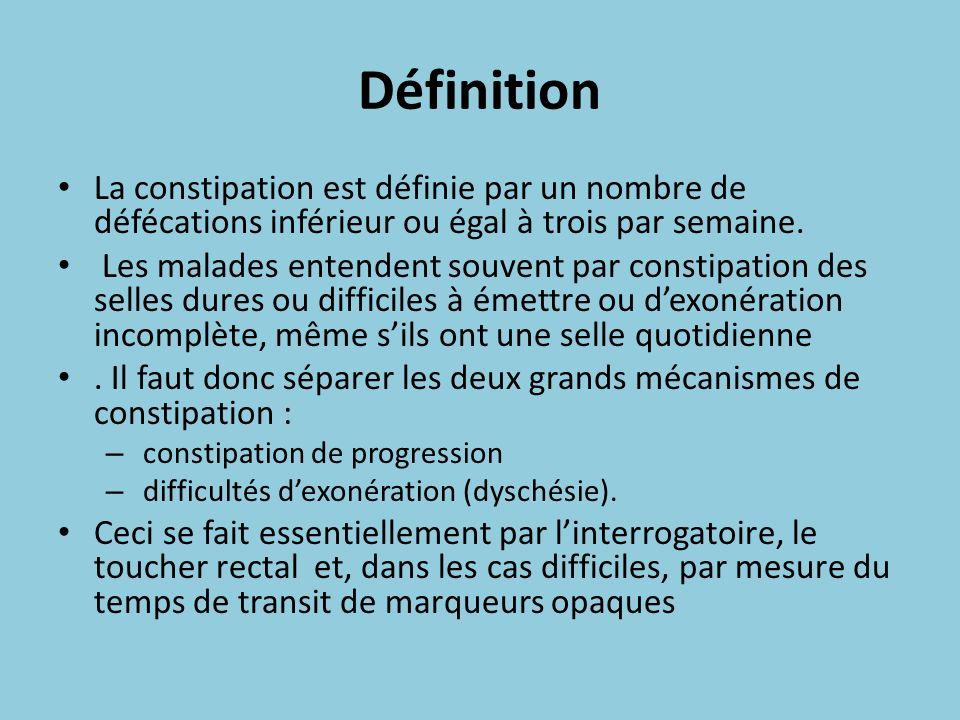 Définition La constipation est définie par un nombre de défécations inférieur ou égal à trois par semaine. Les malades entendent souvent par constipat