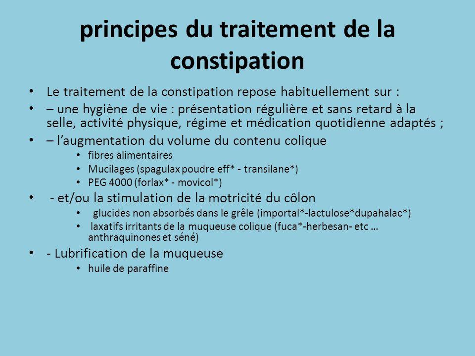 principes du traitement de la constipation Le traitement de la constipation repose habituellement sur : – une hygiène de vie : présentation régulière