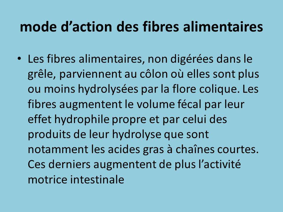 mode daction des fibres alimentaires Les fibres alimentaires, non digérées dans le grêle, parviennent au côlon où elles sont plus ou moins hydrolysées