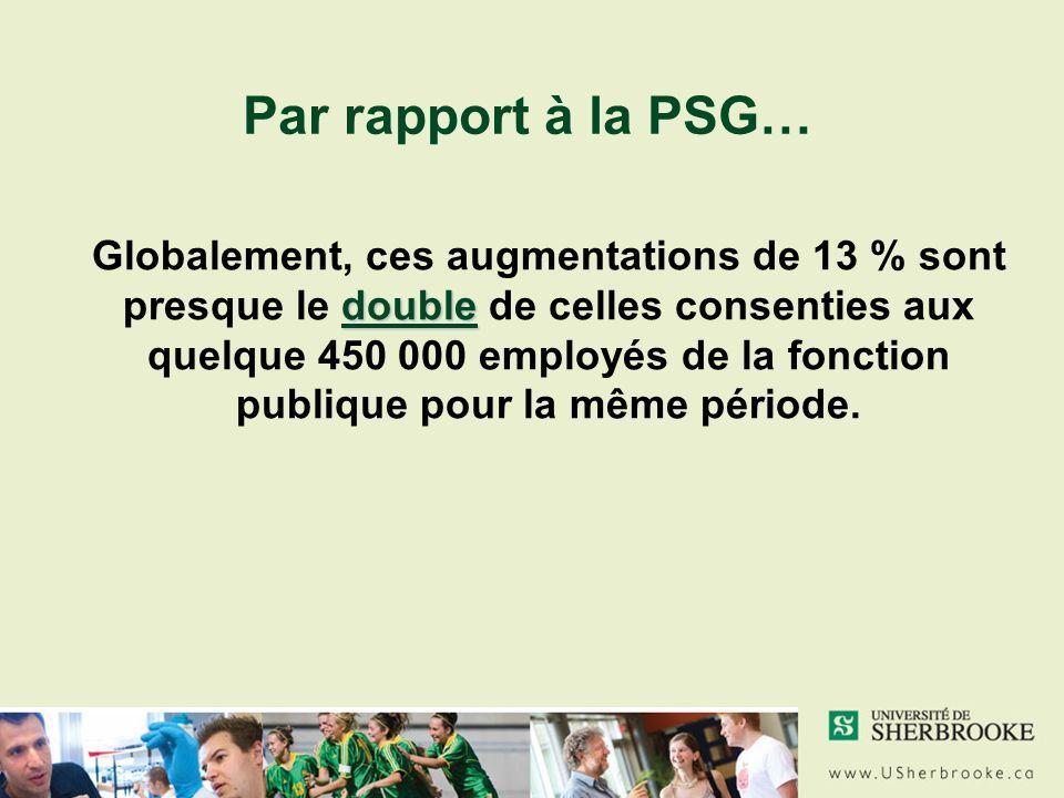 Par rapport à la PSG… double Globalement, ces augmentations de 13 % sont presque le double de celles consenties aux quelque 450 000 employés de la fonction publique pour la même période.