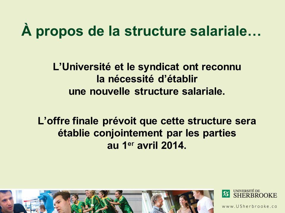 À propos de la structure salariale… LUniversité et le syndicat ont reconnu la nécessité détablir une nouvelle structure salariale.