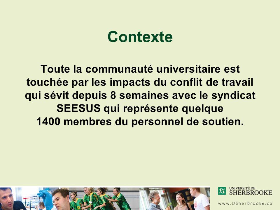 Contexte Toute la communauté universitaire est touchée par les impacts du conflit de travail qui sévit depuis 8 semaines avec le syndicat SEESUS qui représente quelque 1400 membres du personnel de soutien.