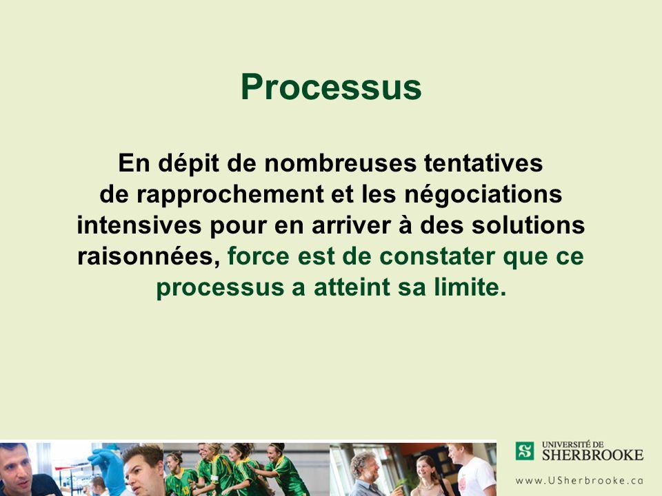 Processus En dépit de nombreuses tentatives de rapprochement et les négociations intensives pour en arriver à des solutions raisonnées, force est de constater que ce processus a atteint sa limite.
