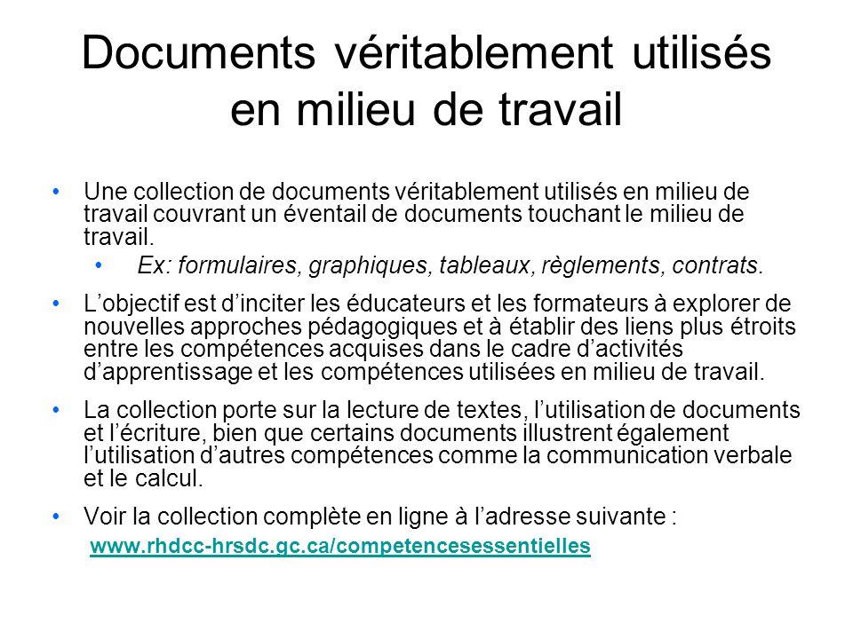 Documents véritablement utilisés en milieu de travail Une collection de documents véritablement utilisés en milieu de travail couvrant un éventail de documents touchant le milieu de travail.