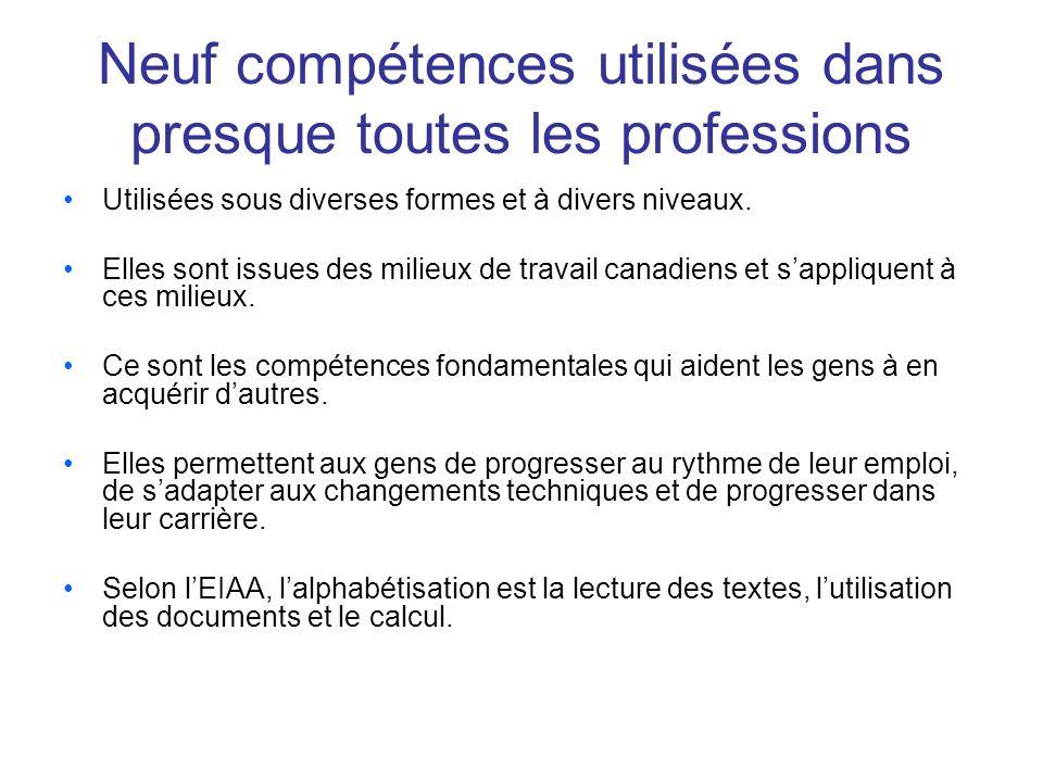 Neuf compétences utilisées dans presque toutes les professions Utilisées sous diverses formes et à divers niveaux.
