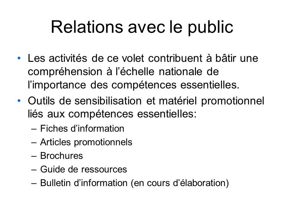 Relations avec le public Les activités de ce volet contribuent à bâtir une compréhension à léchelle nationale de limportance des compétences essentielles.