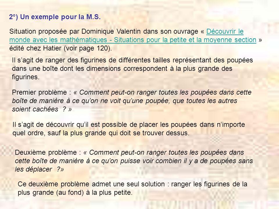 2°) Un exemple pour la M.S. Situation proposée par Dominique Valentin dans son ouvrage « Découvrir le monde avec les mathématiques - Situations pour l