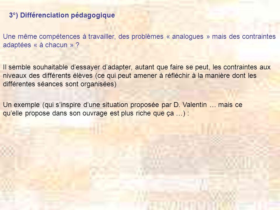 3°) Différenciation pédagogique Une même compétences à travailler, des problèmes « analogues » mais des contraintes adaptées « à chacun » ? Il semble