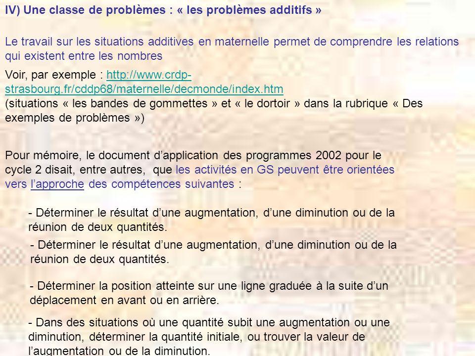 IV) Une classe de problèmes : « les problèmes additifs » Voir, par exemple : http://www.crdp- strasbourg.fr/cddp68/maternelle/decmonde/index.htmhttp:/