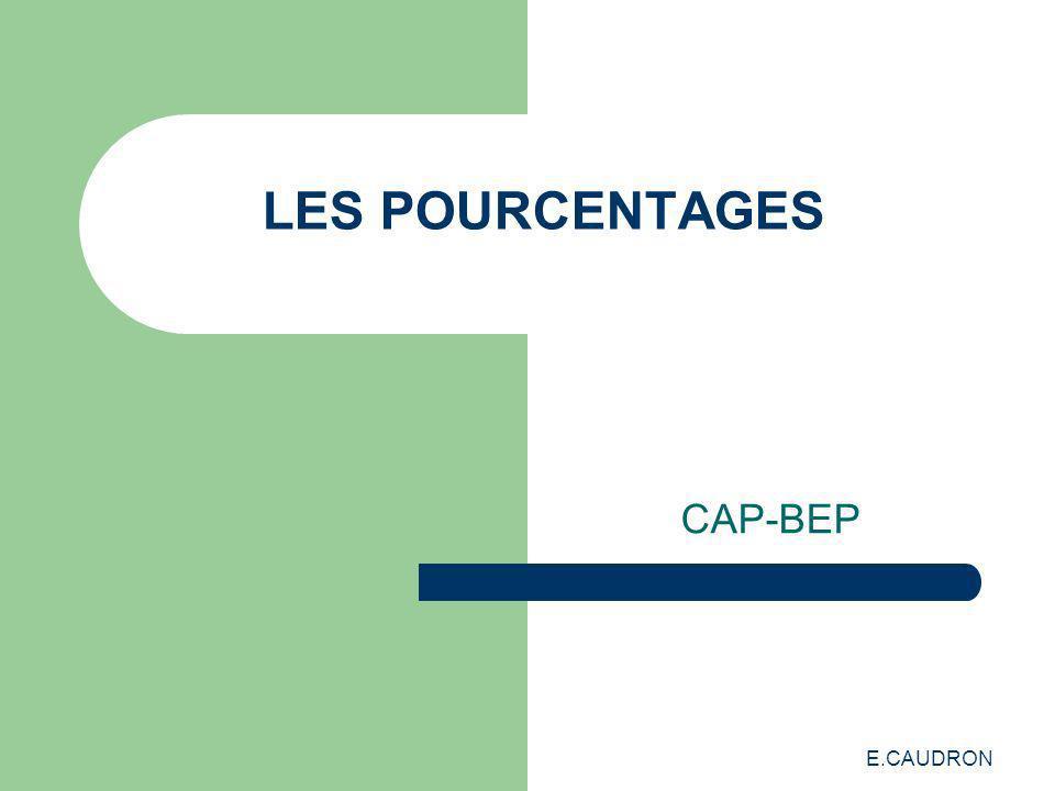 E.CAUDRON LES POURCENTAGES CAP-BEP