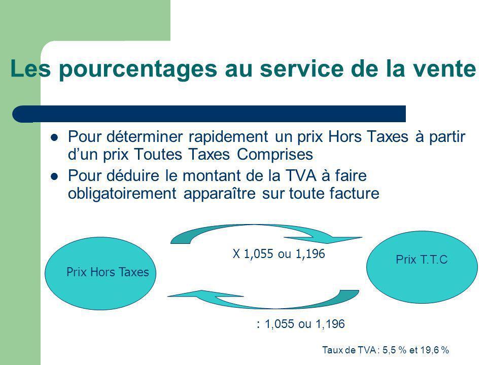 Taux de TVA : 5,5 % et 19,6 % Les pourcentages au service de la vente Pour déterminer rapidement un prix Hors Taxes à partir dun prix Toutes Taxes Com