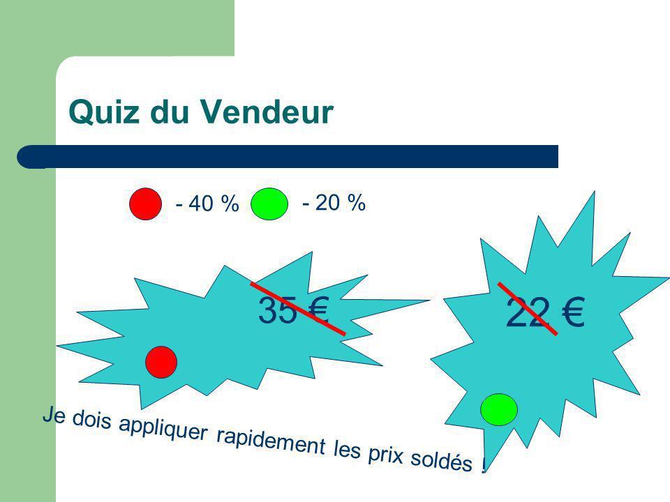 Quiz du Vendeur 35 Je dois appliquer rapidement les prix soldés ! - 40 % - 20 % 22