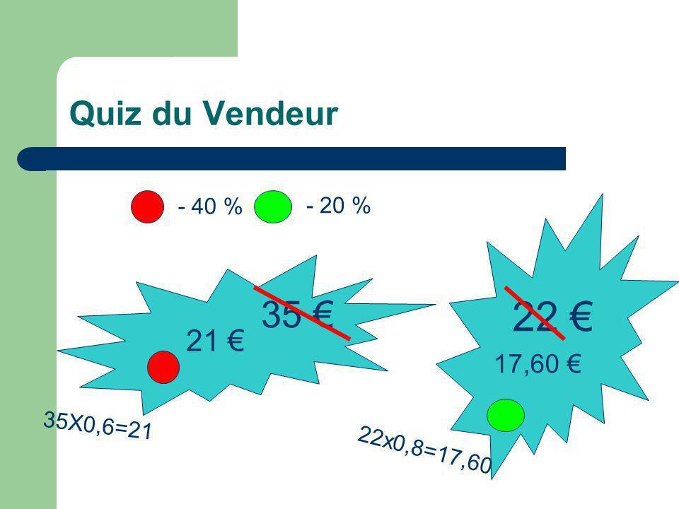 Quiz du Vendeur 35 35X0,6=21 - 40 % - 20 % 22 21 17,60 22x0,8=17,60