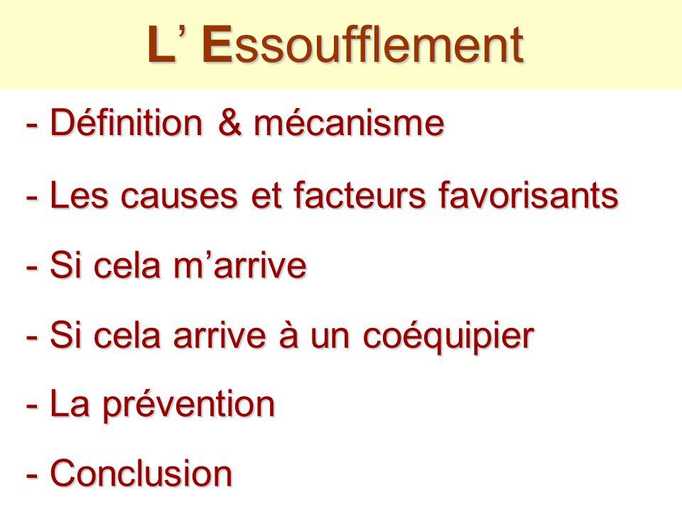 - Les causes et facteurs favorisants L Essoufflement - Si cela arrive à un coéquipier - La prévention - Conclusion - Définition & mécanisme - Si cela marrive