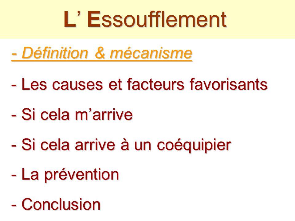 - Les causes et facteurs favorisants L Essoufflement - La prévention - Conclusion - Définition & mécanisme - Si cela arrive à un coéquipier - Si cela marrive