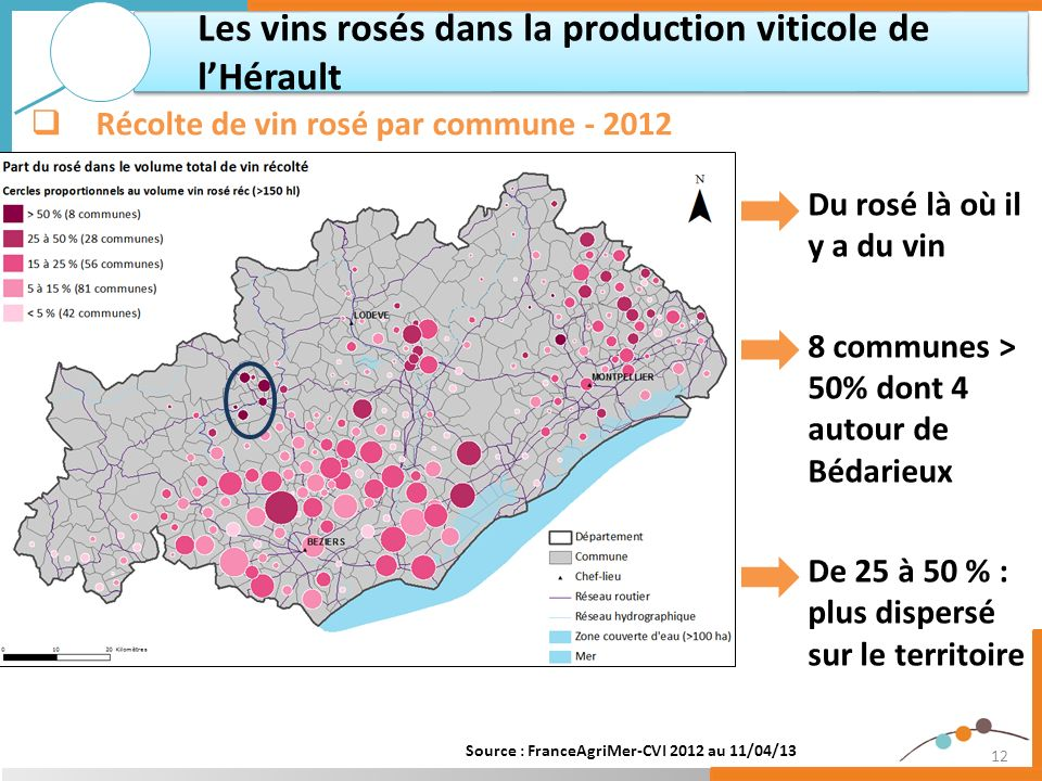 12 Les vins rosés dans la production viticole de lHérault Récolte de vin rosé par commune - 2012 Du rosé là où il y a du vin 8 communes > 50% dont 4 a
