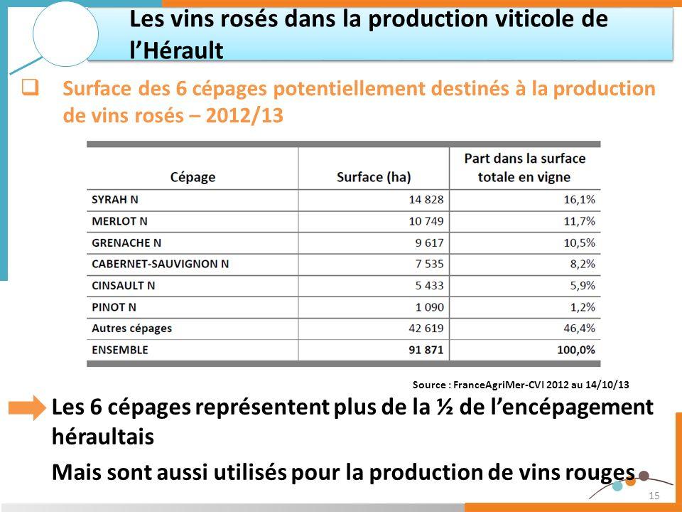 15 Les 6 cépages représentent plus de la ½ de lencépagement héraultais Mais sont aussi utilisés pour la production de vins rouges Les vins rosés dans