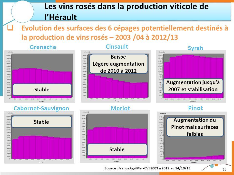 16 Les vins rosés dans la production viticole de lHérault Evolution des surfaces des 6 cépages potentiellement destinés à la production de vins rosés