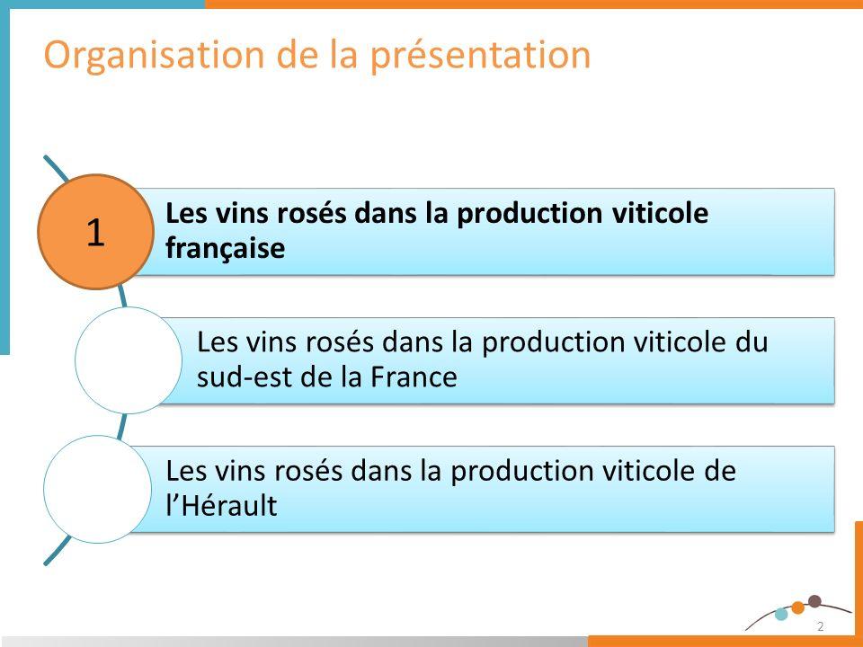 2 Organisation de la présentation Les vins rosés dans la production viticole française Les vins rosés dans la production viticole du sud-est de la Fra