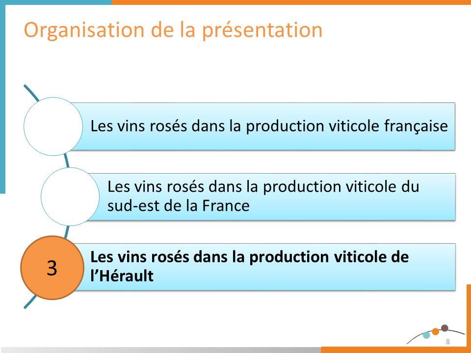 9 LHérault est le 3 ème département producteur de rosé 539 Milliers dhl 10,5% de la production nationale de vins rosés 4 départements représentent la moitié de la production Les vins rosés dans la production viticole de lHérault Volume récolté de vin Rosé des 10 plus importants départements producteurs et place de lHérault - 2012 Source : FranceAgriMer-CVI 2003 à 2012 au 11/04/13