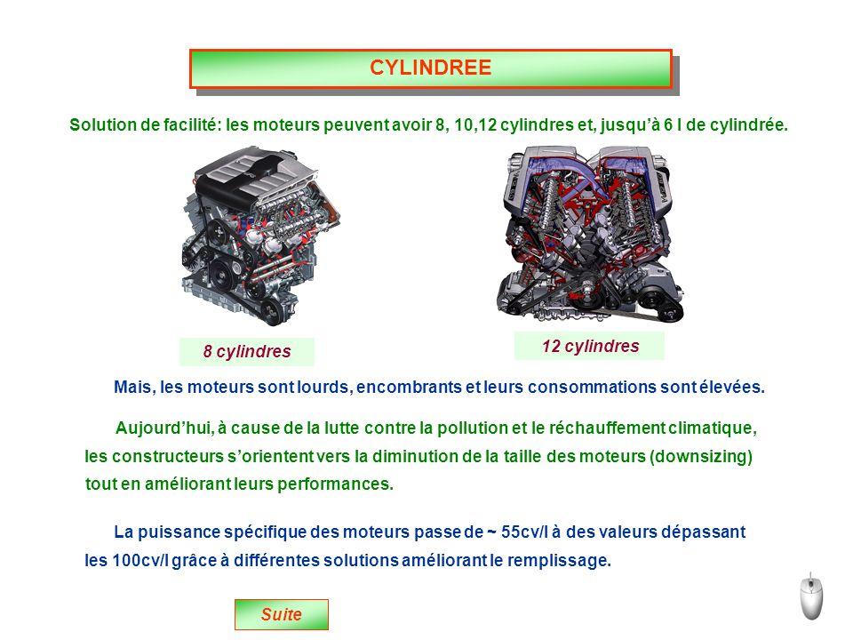 CYLINDREE Solution de facilité: les moteurs peuvent avoir 8, 10,12 cylindres et, jusquà 6 l de cylindrée.