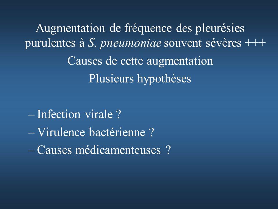 Augmentation de fréquence des pleurésies purulentes à S.
