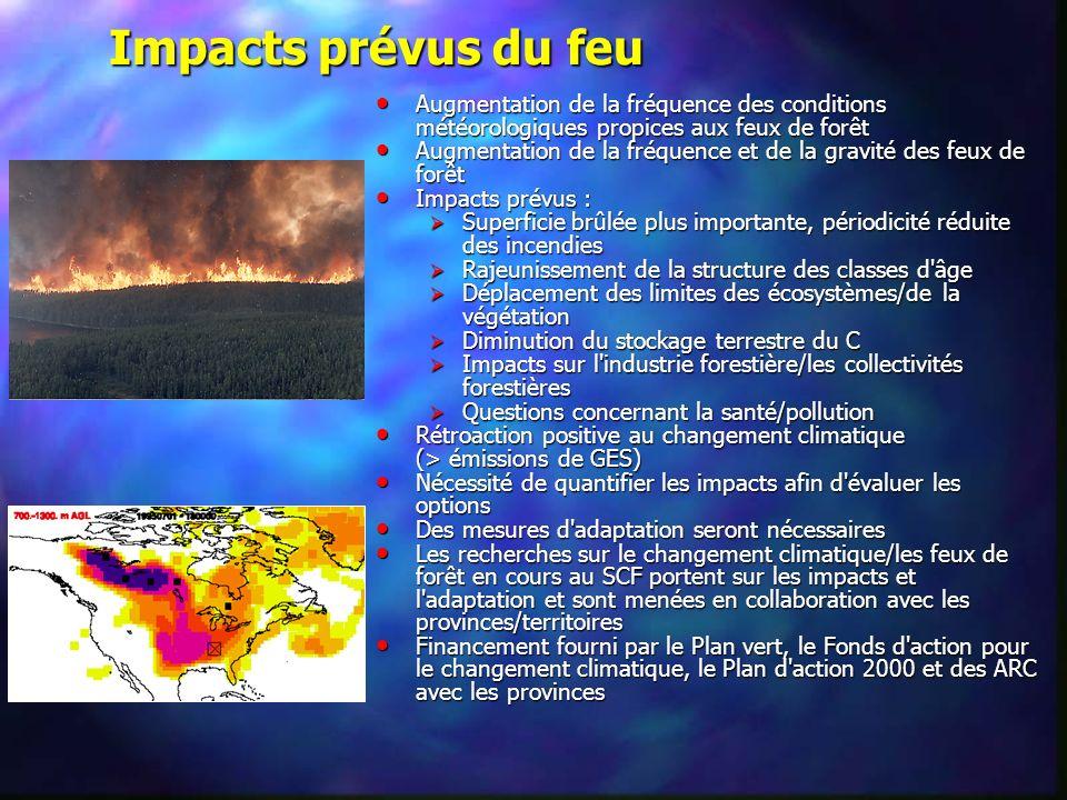 Augmentation de la fréquence des conditions météorologiques propices aux feux de forêt Augmentation de la fréquence des conditions météorologiques pro