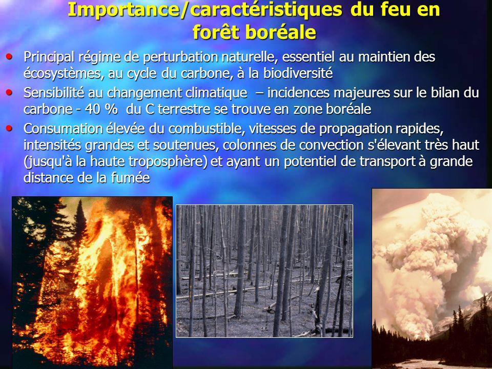Importance/caractéristiques du feu en forêt boréale Principal régime de perturbation naturelle, essentiel au maintien des écosystèmes, au cycle du car