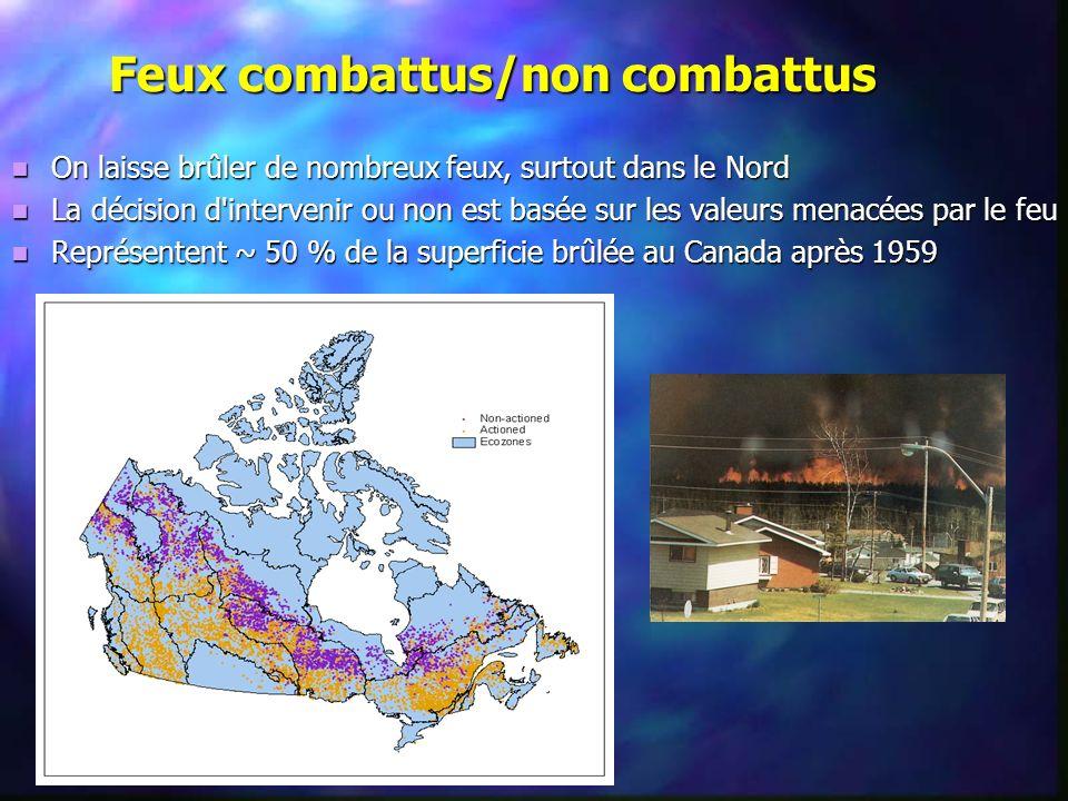 Feux combattus/non combattus On laisse brûler de nombreux feux, surtout dans le Nord On laisse brûler de nombreux feux, surtout dans le Nord La décisi