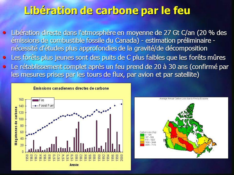 Libération de carbone par le feu Libération directe dans l'atmosphère en moyenne de 27 Gt C/an (20 % des émissions de combustible fossile du Canada) -