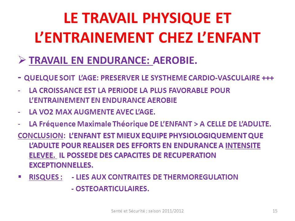 LE TRAVAIL PHYSIQUE ET LENTRAINEMENT CHEZ LENFANT TRAVAIL EN ENDURANCE: AEROBIE. - QUELQUE SOIT LAGE: PRESERVER LE SYSTHEME CARDIO-VASCULAIRE +++ -LA