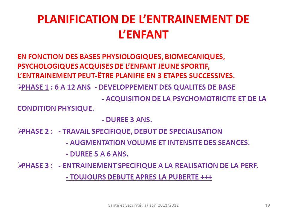PLANIFICATION DE LENTRAINEMENT DE LENFANT EN FONCTION DES BASES PHYSIOLOGIQUES, BIOMECANIQUES, PSYCHOLOGIQUES ACQUISES DE LENFANT JEUNE SPORTIF, LENTR