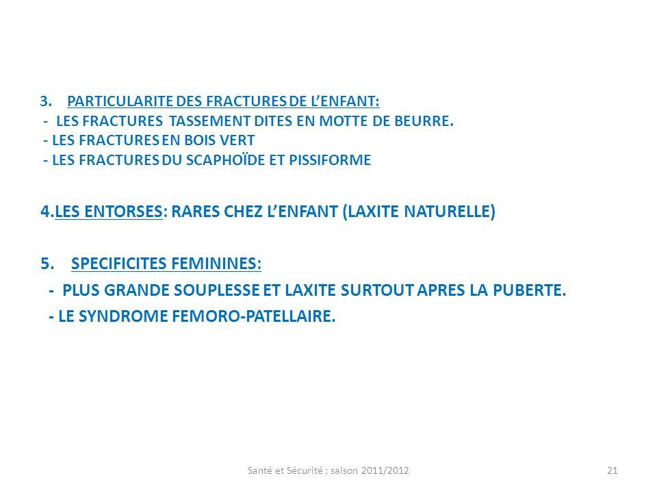 3. PARTICULARITE DES FRACTURES DE LENFANT: - LES FRACTURES TASSEMENT DITES EN MOTTE DE BEURRE. - LES FRACTURES EN BOIS VERT - LES FRACTURES DU SCAPHOÏ