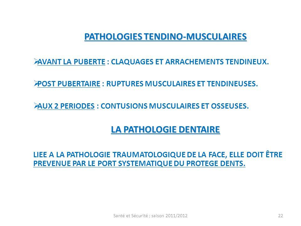 PATHOLOGIES TENDINO-MUSCULAIRES AVANT LA PUBERTE : CLAQUAGES ET ARRACHEMENTS TENDINEUX. POST PUBERTAIRE : RUPTURES MUSCULAIRES ET TENDINEUSES. AUX 2 P