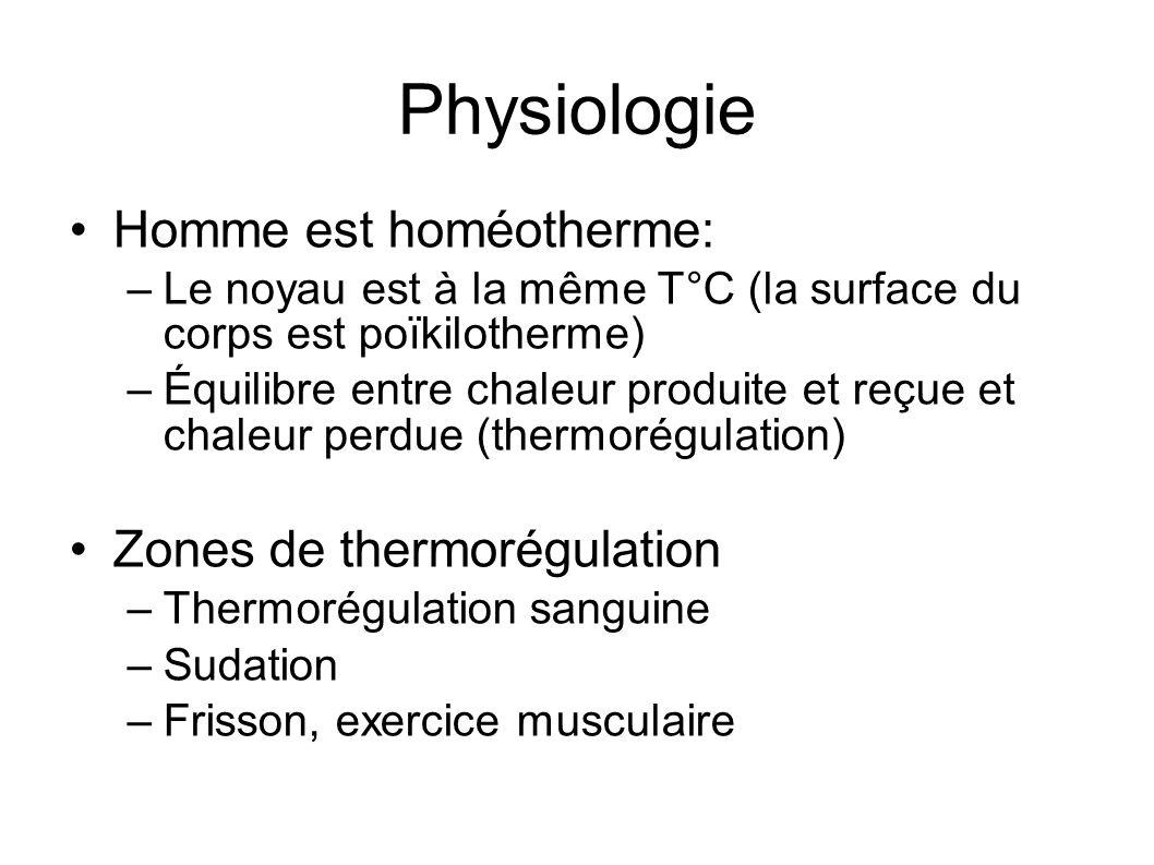 Physiologie Homme est homéotherme: –Le noyau est à la même T°C (la surface du corps est poïkilotherme) –Équilibre entre chaleur produite et reçue et c
