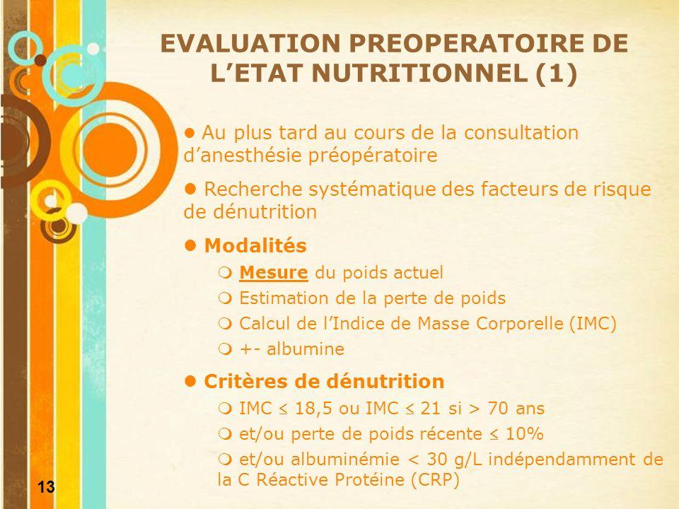 14 Stratification du risque nutritionnel EVALUATION PREOPERATOIRE DE LETAT NUTRITIONNEL (2)