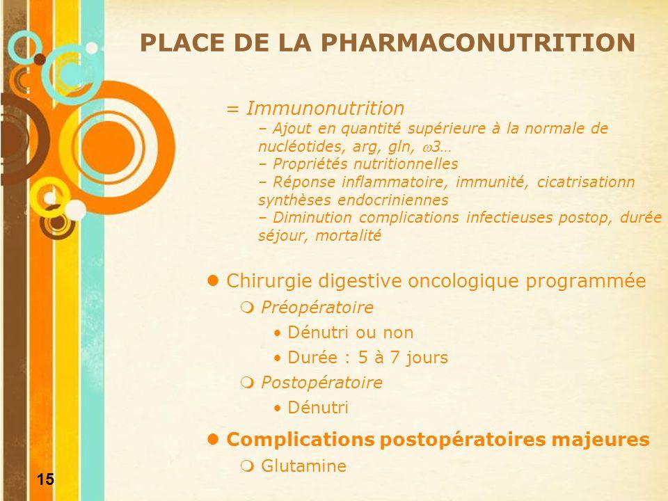16 Bon usage de la nutrition parentérale dans la prise en charge nutritionnelle périopératoire EVALUATION DES PRATIQUES PROFESSIONNELLES