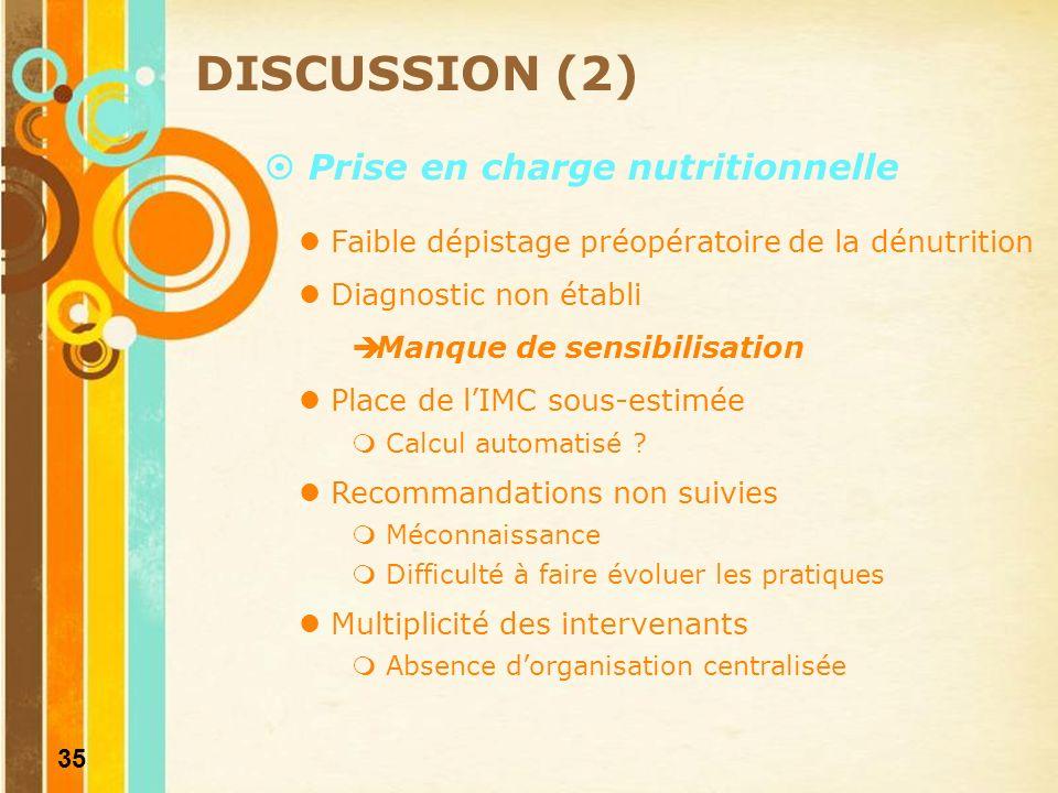 36 Bon usage de la NP DISCUSSION (3) Non conformité Durée Modalités dadministration Supplémentation en micronutriments Surveillance Imprécision et incohérence des prescriptions Méconnaissance des produits référencés NP perçue comme plus simple à gérer Risques > à la nutrition entérale.