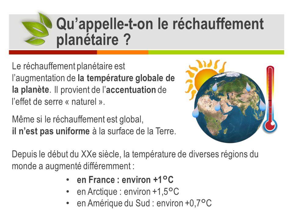 Le réchauffement planétaire est laugmentation de la température globale de la planète.